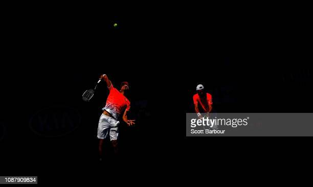 Leonardo Mayer of Argentina and Joao Sousa Portugal in action during their Men's Doubles semi final match against John Peers of Australia and Henri...