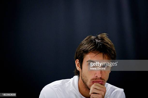 Leonardo Mayer of Argentina attends a press conference ahead of their Davis Cup semifinal against Czech Republic at O2 Arena on September 10 2013 in...