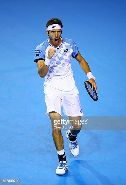 Leonardo Mayer of Argentina celebrates a point during his singles match against Dan Evans of Great Britain during day three of the Davis Cup semi...