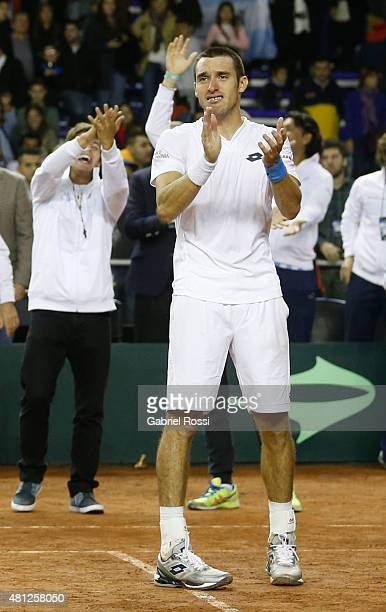 Leonardo Mayer of Argentina celebrates after winning a quarter final doubles match between Carlos Berlocq / Leonardo Mayer and Viktor Troicki / Nenan...
