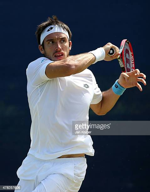 Leonardo Mayer of Argentina in action against Jiri Vesely of Czech Republic on day four of the Aegon Open Nottingham at Nottingham Tennis Centre on...