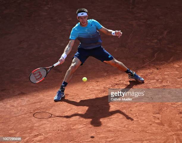 Leonardo Mayer of Argentina in action during his Final against Nikoloz Basilashvili of Georgia during the German Tennis Championships at Rothenbaum...