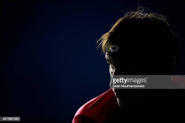 Leonardo Mayer of Argentina looks on from his bench in his match against Pablo Cuevas of Uruguay during day 2 of the BNP Paribas Masters held at the...