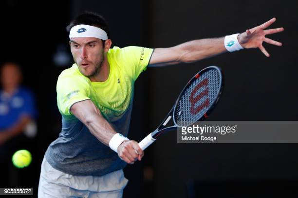 Leonardo Mayer of Argentina plays a backhand in his second round match against Rafael Nadal of Spain Leonardo on day three of the 2018 Australian...