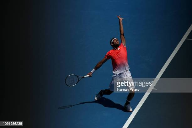 Leonardo Mayer of Argentina serves during his quarter final match against Tennys Sandgren of USA during the ASB Classic at the ASB Tennis Centre on...