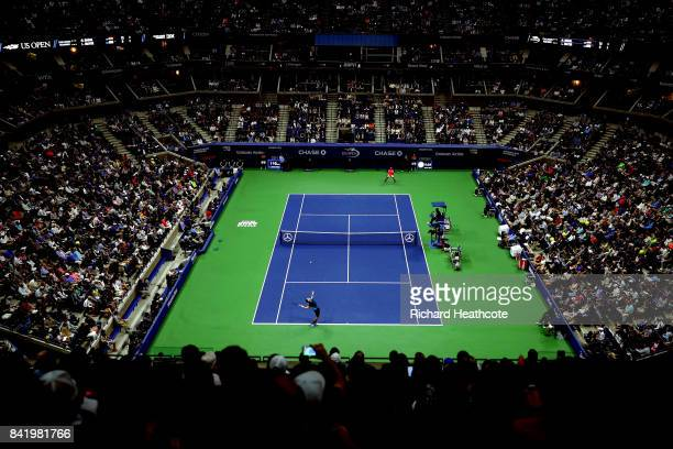 Leonardo Mayer of Argentina serves during his third round match against Rafael Nadal of Spain on Day Six of the 2017 US Open at the USTA Billie Jean...