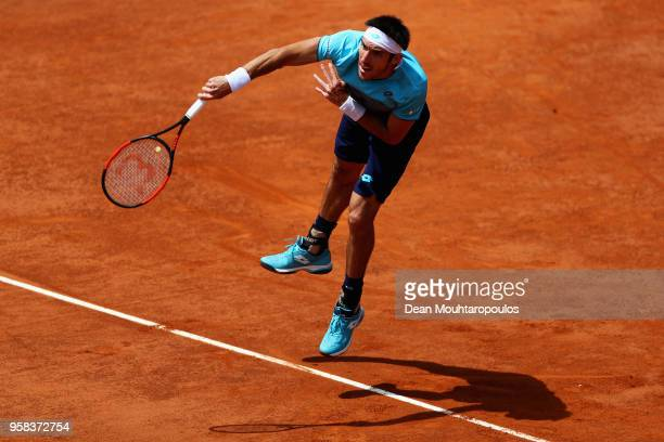 Leonardo Mayer of Argentina serves in his match against David Goffin of Belgium during day two of the Internazionali BNL d'Italia 2018 tennis at Foro...