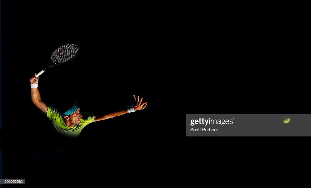 Leonardo Mayer of Argentina serves in his second round match against Rafael Nadal of Spain Leonardo on day three of the 2018 Australian Open at Melbourne Park on January 17, 2018 in Melbourne, Australia.