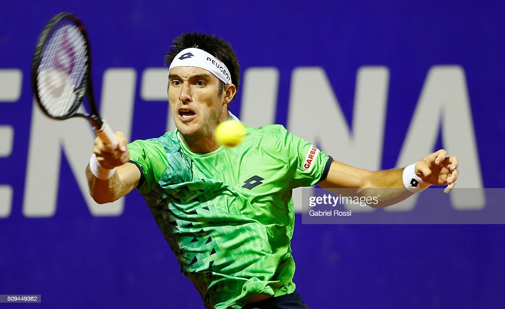 Leonardo Mayer of Argentina takes a forehand shot during a match between Leonardo Mayer of Argentina and Jo-Wilfried Tsonga of France as part of ATP Argentina Open at Buenos Aires Lawn Tennis Club on February 10, 2016 in Buenos Aires, Argentina.