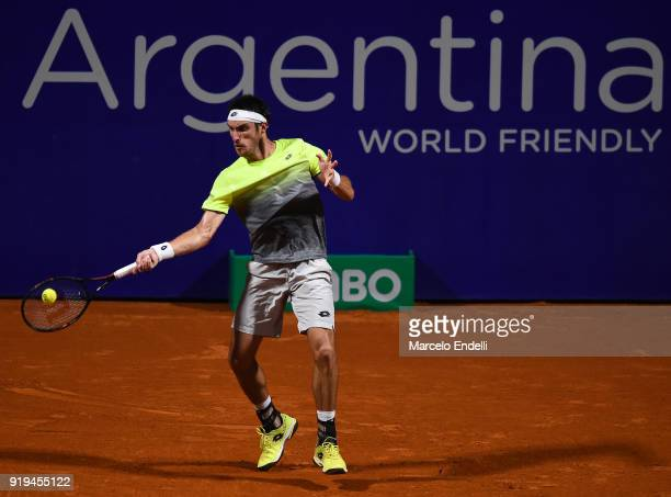 Leonardo Mayer of Argentina takes a forehand shot during a second round match between Fabio Fognini of Italy and Leonardo Mayer of Argentina as part...