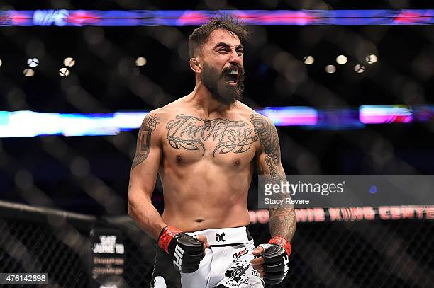Leonardo Morales reacts to his victory over Jose Quinonez in their bantamweight bout during the UFC Fight Night event at Smoothie King Center on June...