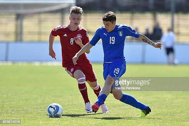 Leonardo Morosini of Italy U20 in action against Mathias Jensen of Denmark U20 during the match between Italy U20 and Denmark U20 on April 27 2016 in...