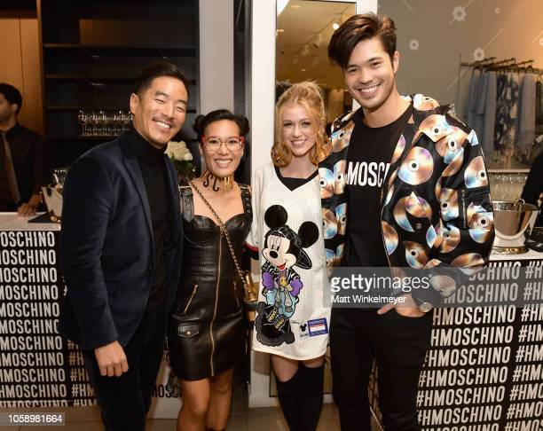 Leonardo Nam Ali Wong Katherine McNamara and Ross Butler attend the Moschino x HM Los Angeles Launch Event at HM on November 7 2018 in Los Angeles...