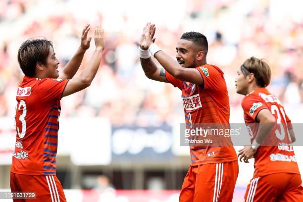 Leonardo of Albirex Niigata celebrates his goal during the J.League J2 match between Albirex Niigata v Kagoshima United at Denka Big Swan Stadium on...