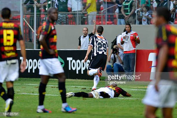 Leonardo of Atletico MG celebrates a goal during a match between Atletico MG and Sport as part of the Campeonato Brasileiro 2012 at Estadio...