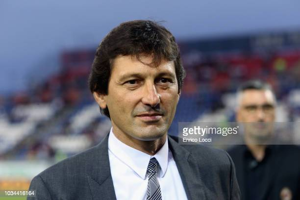 Leonardo of Milan looks on during the serie A match between Cagliari and AC Milan at Sardegna Arena on September 16 2018 in Cagliari Italy