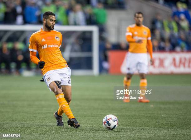 Leonardo of the Houston Dynamo passes the ball during the second leg of the MLS Western Conference Finals at CenturyLink Field on November 30 2017 in...