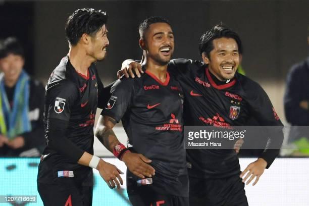 Leonardo of Urawa Reds celebrats the second goal during the J.League MEIJI YASUDA J1 match between Shonan Bellmare and Urawa Red Diamonds at the...