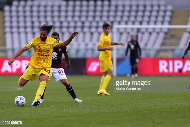 Leonardo Pavoletti of Cagliari Calcio in action during the Serie A match between Torino Fc and Cagliari Calcio Cagliari Calcio wins 32 over Torino Fc