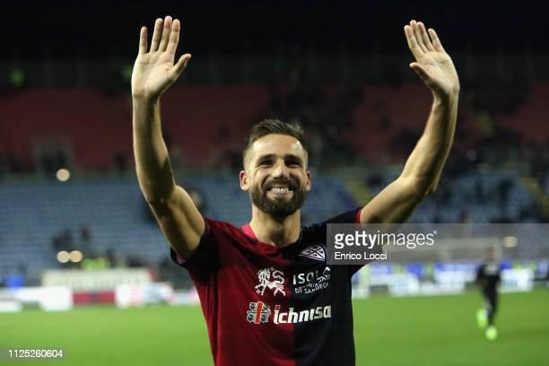Leonardo Pavoletti of Cagliari celebrates a victory at the end of the Serie A match between Cagliari and Parma Calcio at Sardegna Arena on February...