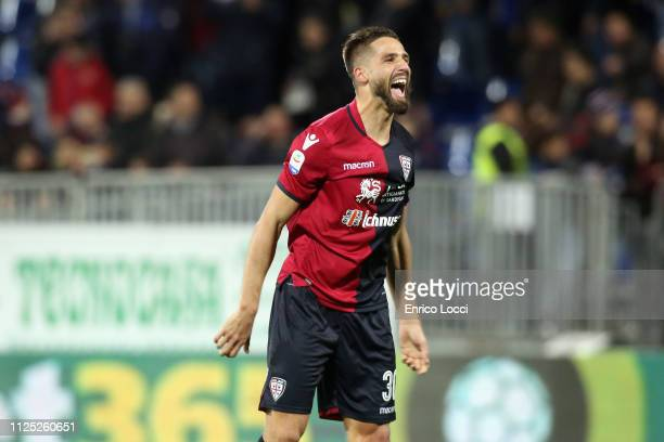 Leonardo Pavoletti of Cagliari celebrates a victory at the end of the Serie A match between Cagliari and Parma Calcio at Sardegna Arena on February...