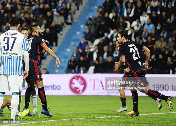 Leonardo Pavoletti of Cagliari celebrates after scoring a goal during the Serie A match between SPAL and Cagliari at Stadio Paolo Mazza on November...