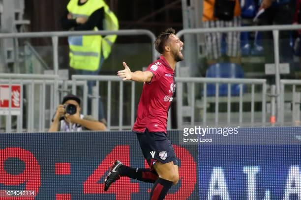 Leonardo Pavoletti of Cagliari celebrates his goal 10 during the serie A match between Cagliari and US Sassuolo at Sardegna Arena on August 26 2018...
