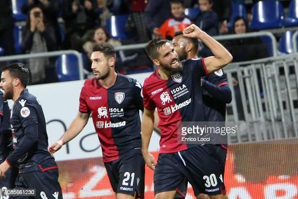Leonardo Pavoletti of Cagliari celebrates his goal 10 during the Serie A match between Cagliari and Empoli at Sardegna Arena on January 20 2019 in...