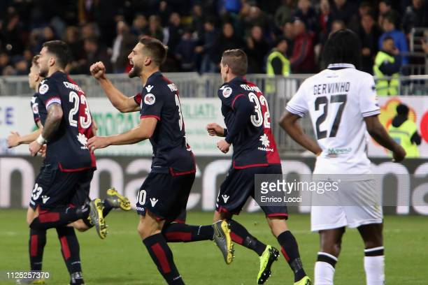 Leonardo Pavoletti of Cagliari celebrates his goal 11 during the Serie A match between Cagliari and Parma Calcio at Sardegna Arena on February 16...