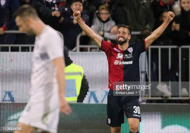 Leonardo Pavoletti of Cagliari celebrates his goal 21 during the Serie A match between Cagliari and FC Internazionale at Sardegna Arena on March 1...