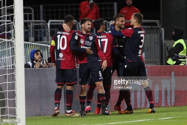 Leonardo Pavoletti of Cagliari celebrates his goal 22 during the Serie A match between Cagliari Calcio and UC Sampdoria at Stadio Sant'Elia on...