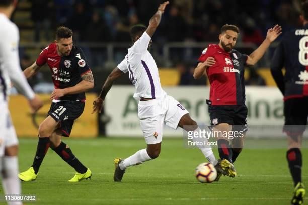 Leonardo Pavoletti of Cagliari in action during the Serie A match between Cagliari and ACF Fiorentina at Sardegna Arena on March 15 2019 in Cagliari...