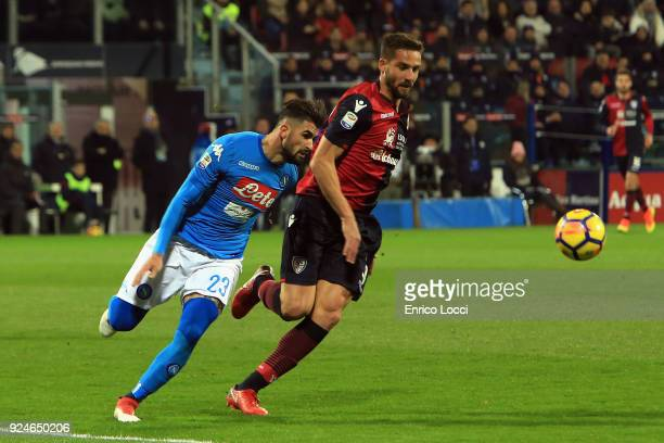 Leonardo Pavoletti of Cagliari in action during the Serie A match between Cagliari Calcio and SSC Napoli at Stadio Sant'Elia on February 26 2018 in...