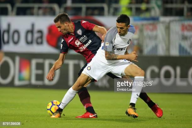 Leonardo Pavoletti of Cagliari in contrast during the Serie A match between Cagliari Calcio and FC Internazionale at Stadio Sant'Elia on November 25...