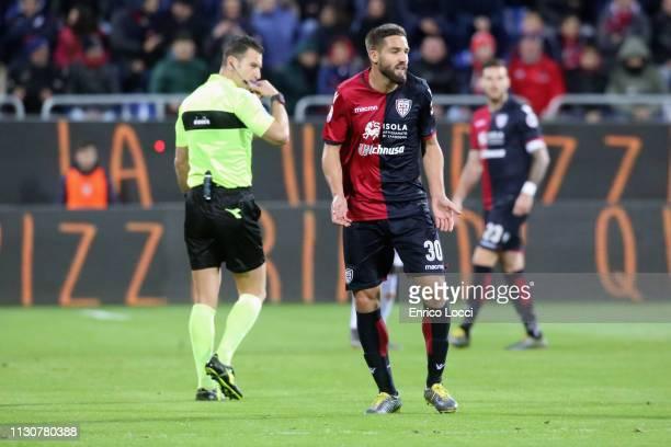 Leonardo Pavoletti of Cagliari reacts during the Serie A match between Cagliari and ACF Fiorentina at Sardegna Arena on March 15 2019 in Cagliari...