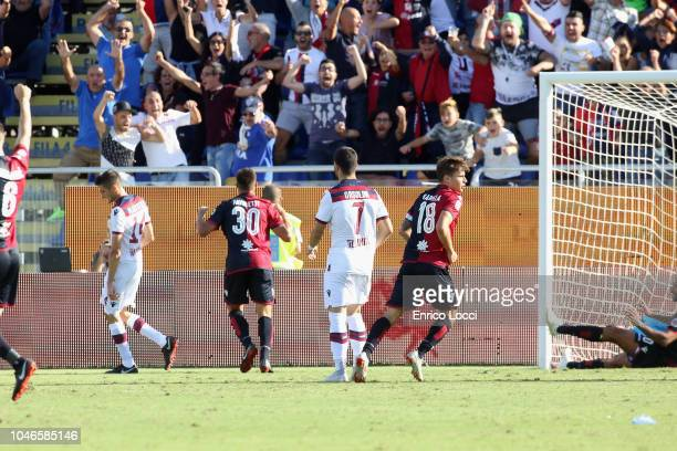 Leonardo Pavoletti of Cagliari scored the goal 20 during the Serie A match between Cagliari and Bologna FC at Sardegna Arena on October 6 2018 in...