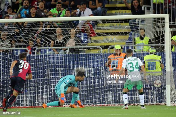 Leonardo Pavoletti of Cagliari scores his goal 10 during the serie A match between Cagliari and US Sassuolo at Sardegna Arena on August 26 2018 in...