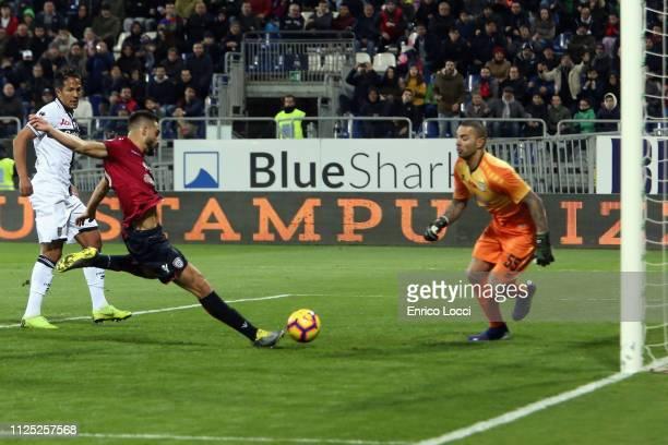 Leonardo Pavoletti of Cagliari scores his goal 11 during the Serie A match between Cagliari and Parma Calcio at Sardegna Arena on February 16 2019 in...