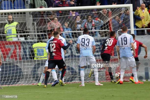 Leonardo Pavoletti of Cagliari scores his goal 21 during the Serie A match between Cagliari and SPAL at Sardegna Arena on April 7 2019 in Cagliari...