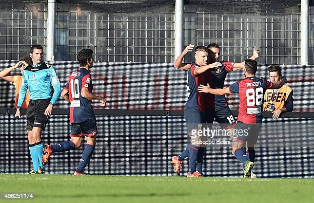 Leonardo Pavoletti of Genoa celebrates after scoring the opening goal during the Serie A match between Frosinone Calcio and Genoa CFC at Stadio...