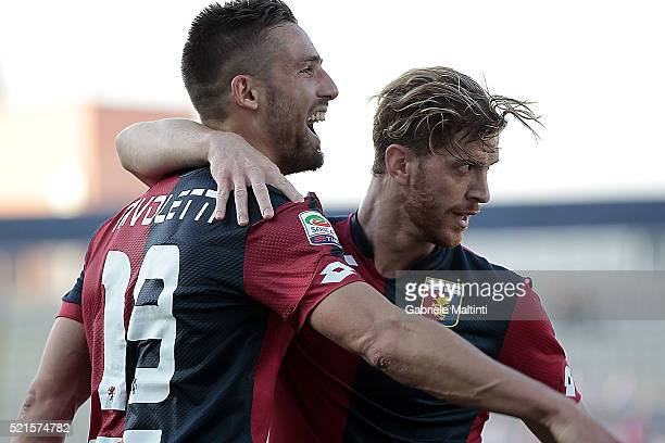 Leonardo Pavoletti of Genoa CFC celebrates after scoring a goal during the Serie A match between Carpi FC and Genoa CFC at Alberto Braglia Stadium on...