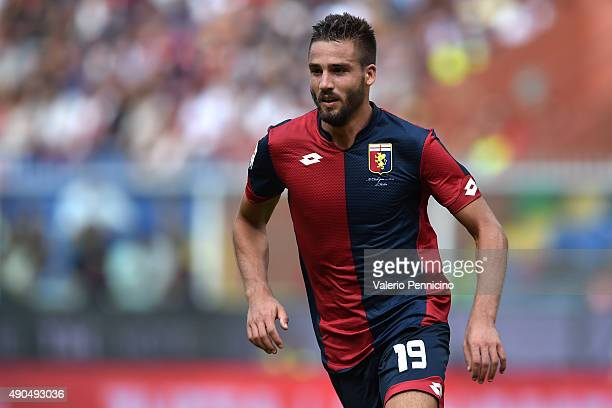 Leonardo Pavoletti of Genoa CFC looks on during the Serie A match between Genoa CFC and AC Milan at Stadio Luigi Ferraris on September 27 2015 in...