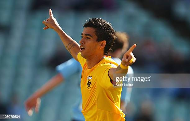 Leonardo Pereirar of AEK Athens celebrates after scoring his team's first goal during the preseason friendly match between Sydney FC and AEK Athens...