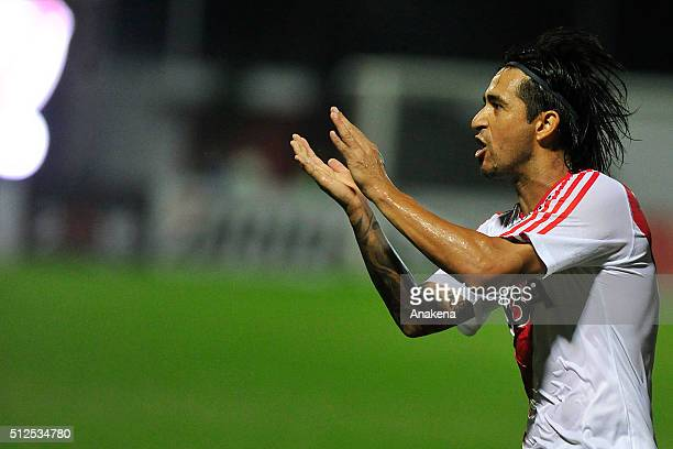 Leonardo Pisculichi celebrates after scoring the opening gaol during a group stage match between Trujillanos and River Plate as part of Copa...