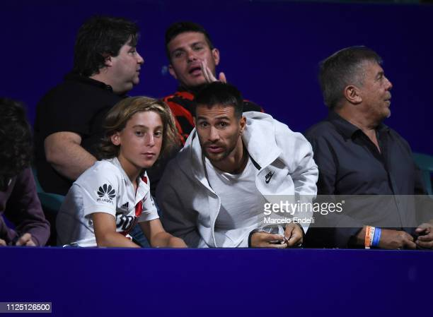 Leonardo Ponzio football player of River Plate looks the match between Pablo Cuevas of Uruguay and Dominic Thiem of Austria during the Argentina Open...
