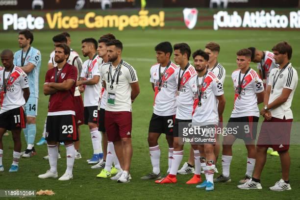 Leonardo Ponzio Milton Casco and Julian Alvarez of River Plate look dejected after losing the final match of Copa CONMEBOL Libertadores 2019 between...