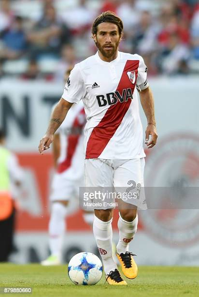 Leonardo Ponzio of River Plate drives the ball during a match between River and Newell's Old Boys as part of Superliga 2017/18 at Monumental Stadium...
