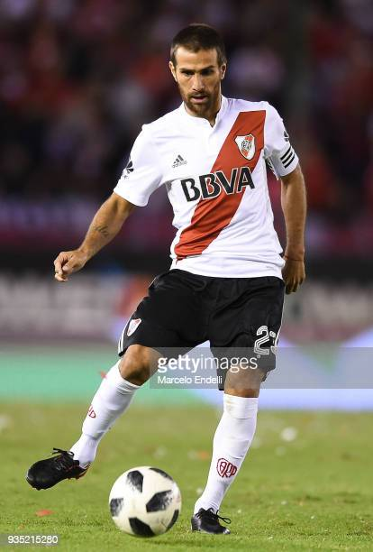 Leonardo Ponzio of River Plate kicks the ball during a match between River Plate and Belgrano as part of Superliga 2017/18 at Monumental Antonio...