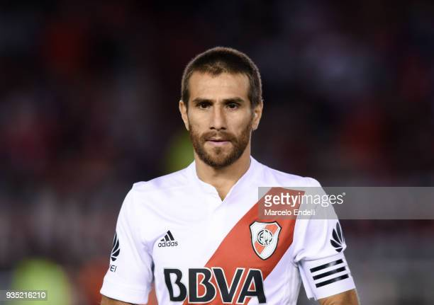 Leonardo Ponzio of River Plate looks on during a match between River Plate and Belgrano as part of Superliga 2017/18 at Monumental Antonio Vespucio...