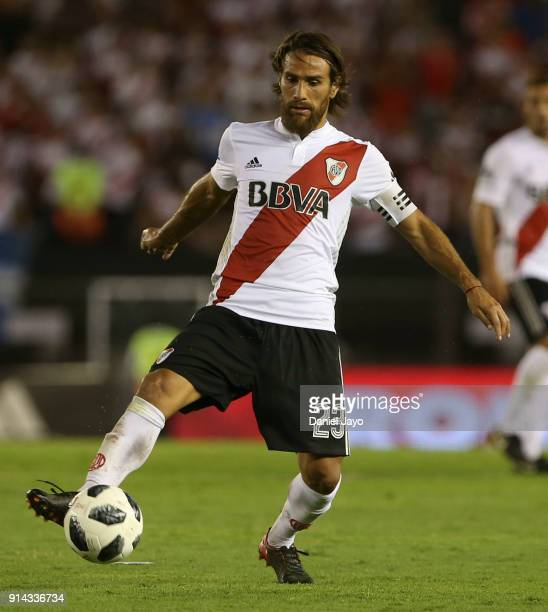 Leonardo Ponzio of River Plate plays the ball during a match between River Plate and Olimpo as part of Superliga 2017/18 at Estadio Monumental...